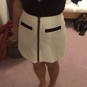 White zip front skirt